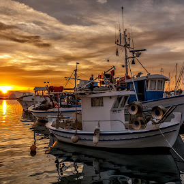 Sunset on the greeg island by Cora Lea - Transportation Boats