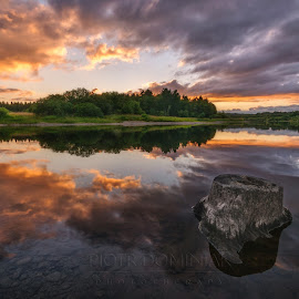 The land of the setting sun. by Piotr Dominiak - Landscapes Sunsets & Sunrises ( clouds, wicklow, reflection, ireland, sunset, blessington lake )