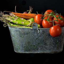 VEGGIE BUCKET #3 by Jim Downey - Food & Drink Ingredients ( metal, asparagas, carrots, radish, tomatoes )