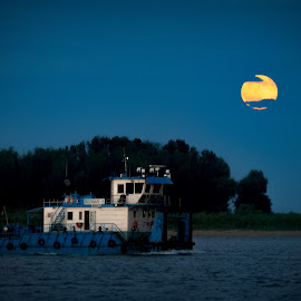 Broken Moon by Laurentiu Lupascu - Transportation Boats ( clouds, moon, dunare, boat, moonrise )