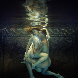 Two by Dmitry Laudin - People Couples ( water, kiss under the water, bubbles, relationship, love, color, woman, dress, swim, couple, light, hair, man )