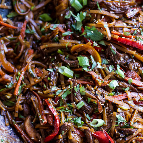 30-Minute Stir Fried Korean Beef and Toasted Sesame Noodles.