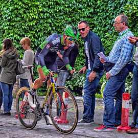 Giving Everything ! by Marco Bertamé - Sports & Fitness Cycling ( time, tongue, giving everything, seconds, 2015, prologue, green, effort, helmet, luxembourg, tour de luxemboug )