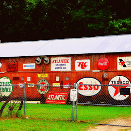 signs and more by Pam Satterfield Manning - Buildings & Architecture Other Exteriors ( signs, building, patterns, other, wheel, colorful, bright, exterior, fences, roof, fence, red, color, letters, other exteriors,  )