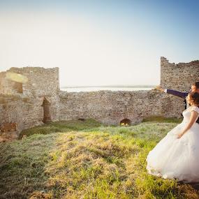 Zaklina i Aleksandar 3 by Vlada Jovic - Wedding Bride & Groom ( love, bridals, wedding, happy, castle, happiness, bride )