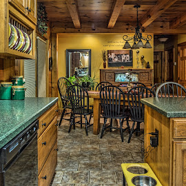 Kitchen by Becky Kempf - Buildings & Architecture Other Interior ( dining room table, kitchen, log cabin, counters )