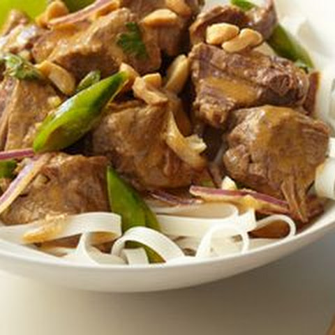 Slow Cooker Coconut Beef with Rice Noodles