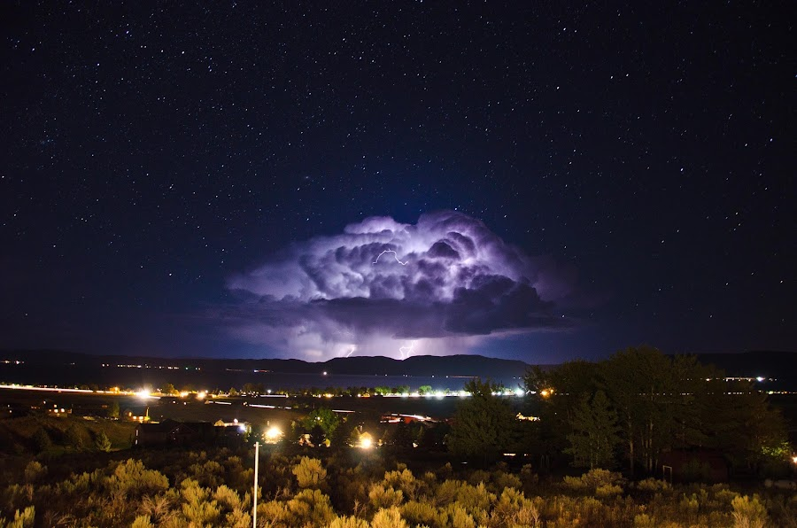 Mushroom Cloud by Ben Steiner - Landscapes Weather ( ben steiner, pwcfoulweather, d7000, weather, night, nikon, lignting )
