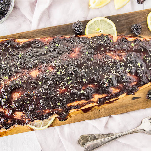 Blackberry-Chipotle Glazed Cedar Plank Salmon