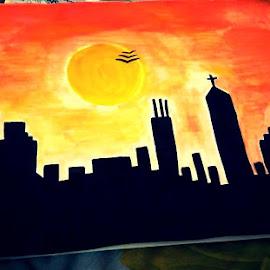 City Sunshine by Nitisha Nitti - Painting All Painting ( sunshine, cityscape, darkness, sun, hope )