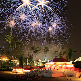 Blue Fireworks above Forbidden City by ChengYang Kng - City,  Street & Park  Amusement Parks ( miniland, fireworks, night, malaysia, legoland, tripod )