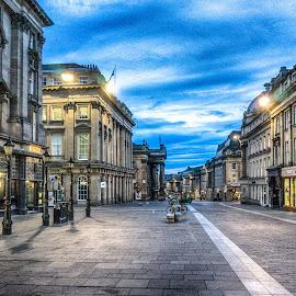 Grey Street by Adam Lang - City,  Street & Park  Historic Districts ( sky, tyneside, newcastle, grey street, street lights )