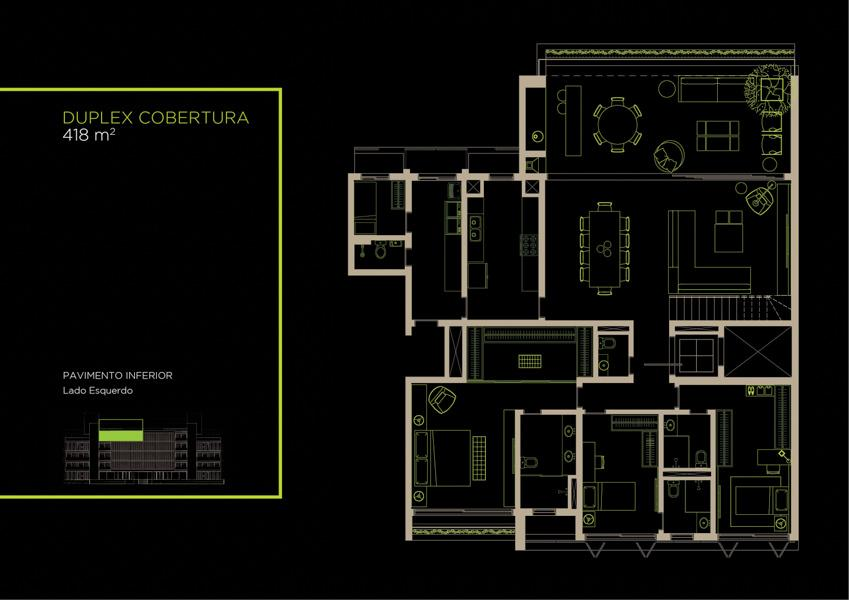 Apto  Cobertura Duplex (42A)  - 418 m² - Piso Inferior