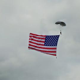 A parachute lands at Oshkosh WI  by Glen Towler - Transportation Airplanes ( american flag, eaa air venture, parachute )