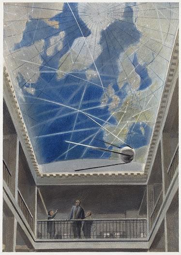 Dessin de François Schuiten pour la scénographie de l'espace muséal du Mundaneum (1998) ©François Schuiten