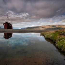 Breaks Through  by Þorsteinn H. Ingibergsson - Transportation Boats ( clouds, iceland, sky, nature, ship, structor, landscape, abandoned )
