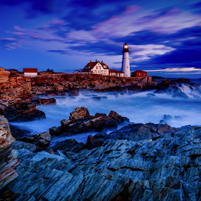 A Light in the Darkness by Tom Whitney - Travel Locations Landmarks ( landmark, north america, maine, blue hour, lighthouse, portland head, travel, sunrise, places, phl, usa,  )