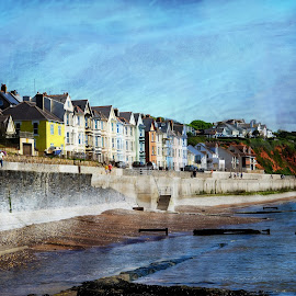 DAWLISH REBORN by Wayne Brown - Digital Art Places ( new, art, defence, dramatic, trains, sun, sea, seaside houses, flood, defenses, sand, dawlish, houses seaside )