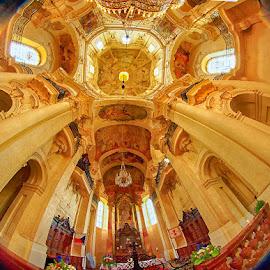Bottom up view by Radu Eftimie - Buildings & Architecture Places of Worship ( fisheye lenses, st nicholas church, prague )