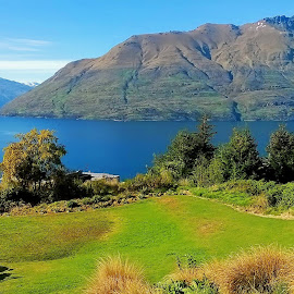 by Alvin Ngow - Landscapes Travel ( queenstown, mountain, park, new zealand spring scenery, colors, lake, travel, relaxing, waterscapes, spring, new zealand, photography, sky, nature, outdoor, background, trees, tourist attractions, scenery, landscapes, garden )