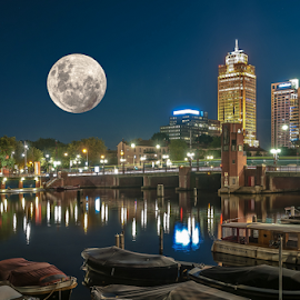 Fullmoon! by Jesus Giraldo - City,  Street & Park  Skylines ( lights, urban, moon, ámsterdam, composition, night, beauty, city,  )