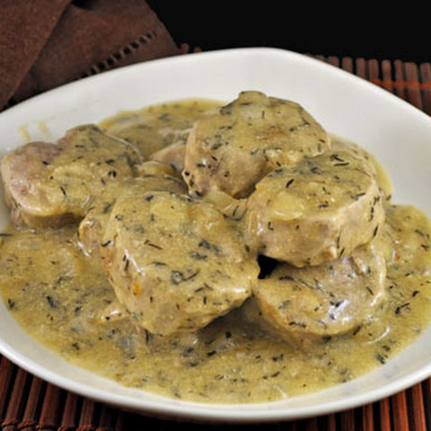 Pork Tenderloin with Mustard and White Wine Sauce