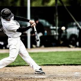 Line Drive by Keith Johnston - Sports & Fitness Baseball ( swinging, batters box, infield, ball, hitter, player, hit, baseball, home plate, swing, batter )