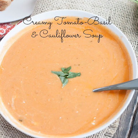 Creamy Tomato-Basil & Cauliflower Soup {with Spooky Sour Cream Spiderwebs!}