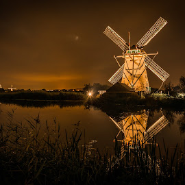 by Kevin Warrilow - Buildings & Architecture Public & Historical ( water, canals, night photography, kinderdijk, holland, reflections, windmills )