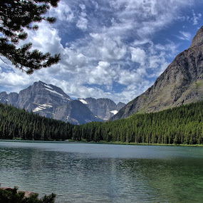 Glacier National Park Lake View by Randi Hodson - Landscapes Mountains & Hills ( water, clouds, mountains, trees, lake )