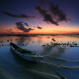 Sunset at Nemberalla by Ina Herliana Koswara - Landscapes Sunsets & Sunrises ( sky, sunset, sea, beach, boat, nemberalla )