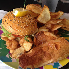 Gluten free Shrimp burger with chips!