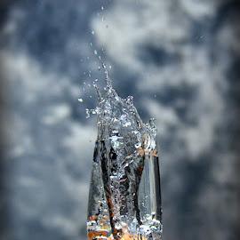 Water splash by Phillip Van Zyl - Food & Drink Alcohol & Drinks ( studio, water, splash, drops, glass, messy, droplets )