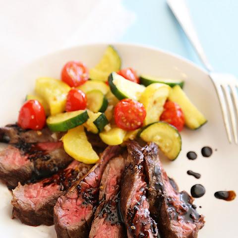 Skillet Balsamic Skirt Steak with Garlic Zucchini, Squash and Tomatoes