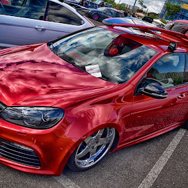 Hot Hot Hot ! by Marco Bertamé - Transportation Automobiles ( vw, reflection, red, tuned, golf, brilliant, volkswagen )