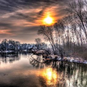 Winter Morning on the River by John Larson - Landscapes Sunsets & Sunrises ( sky, rier, sunrise, reflections, snow, trees )