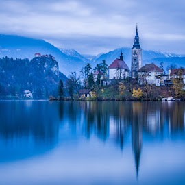 Bled by Joško Šimic - Landscapes Waterscapes ( water, reflection, mountain, famous place, church, scenics, bled  slovenia, tourism, lake, cityscape, architecture, travel, landscape, sky, tree, nature, blue, outdoors, night, town, everypixel, european alps )