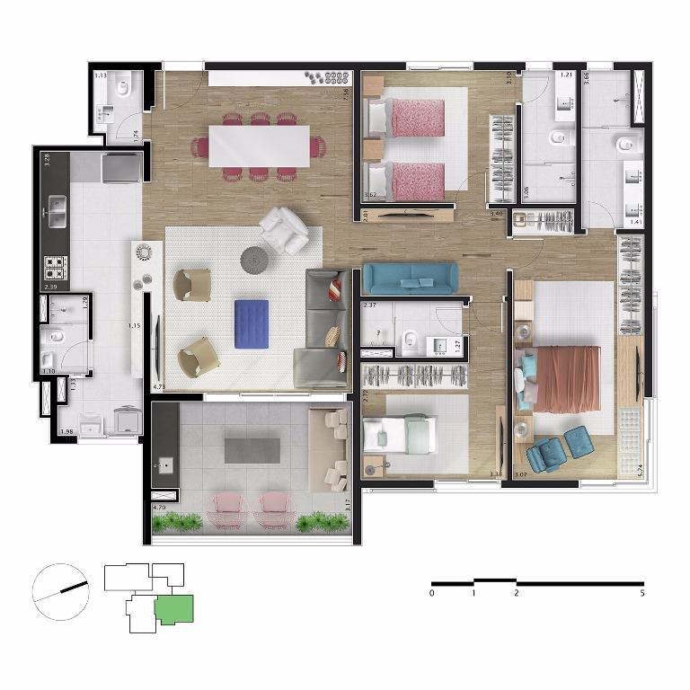 Planta Apto 53 - 151 m²
