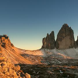 Tre Cime by Natalia Photography - Landscapes Mountains & Hills ( mountain, dolomites, nature, sunset, hiking, peak, travel, dolomiti, tre cime, italy, colors )