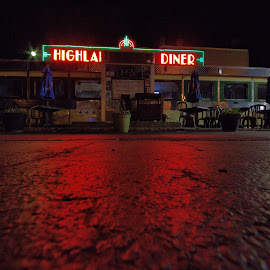 Highland Park Diner #6 by Cal Brown - Buildings & Architecture Other Exteriors ( diner, exterior, eat, landmark, building, architecture, night photography )