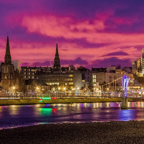 Inverness at dawn .  by Gordon Bain - City,  Street & Park  Night ( dawn, riverside, inverness )