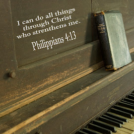 I can do all things by Steven Faucette - Typography Quotes & Sentences ( piano, new testament, scripture, antique )