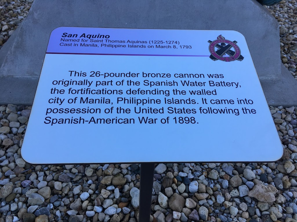 San Aquino Named for Saint Thomas Aquinas (1225-1274) Cast in Manila, Philippine Islands on March 8, 1793 This 26-pounder bronze cannon was originally part of the Spanish Water Battery, the ...