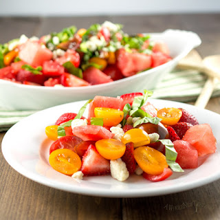 Watermelon Strawberry and Tomato Salad