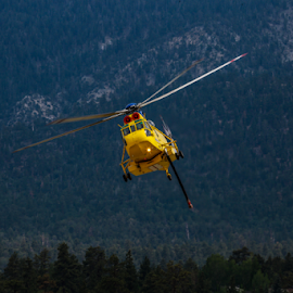Fire Fighting Helicoptor by Janet Aguila Krause - Transportation Helicopters ( helicopter, fire helicopter, lake fire, firefighting, barton flats fire, san bernardino forest )