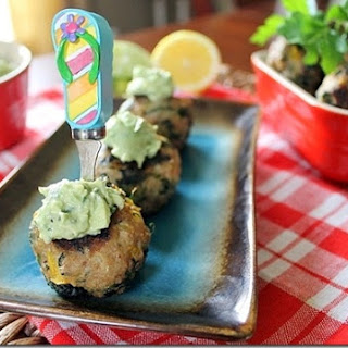"""Spring"" Turkey Meatballs with Avocado Citrus Dipping Sauce"