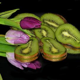 kiwis wih wo ulips by LADOCKi Elvira - Food & Drink Fruits & Vegetables