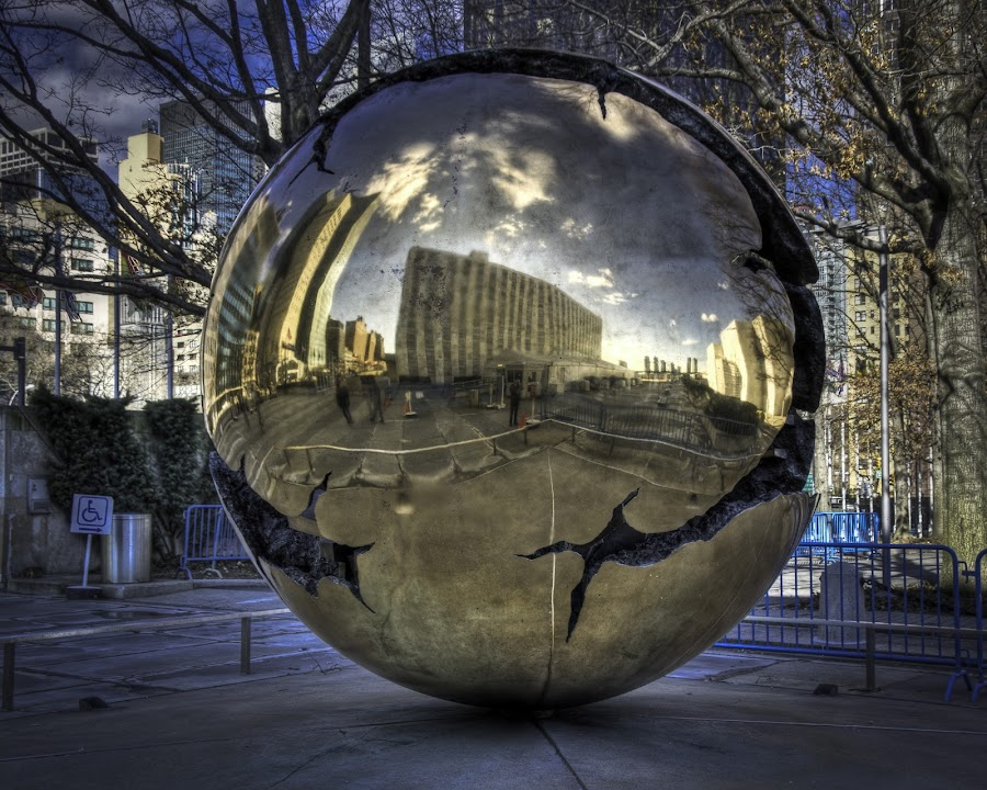 Sculpture at UNHQ NY by JJ Richards - Novices Only Objects & Still Life ( sculpture, art, reflections, manhattan, nyc, ny, un, united nations, globe )