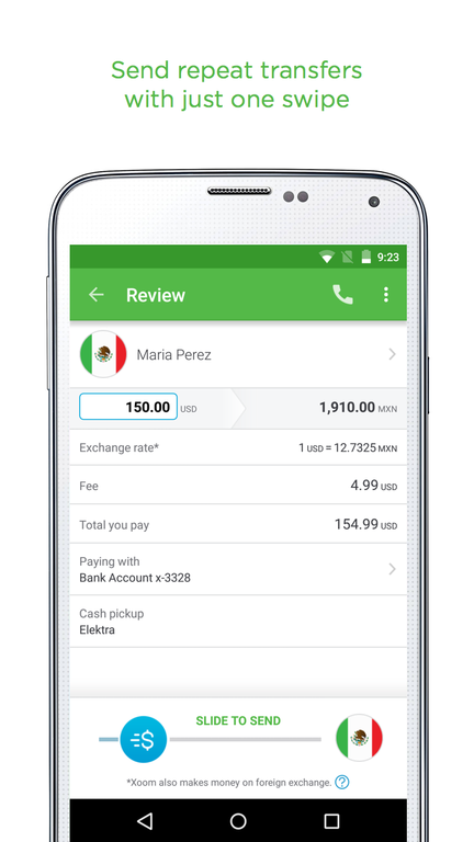 Xoom Money Transfer Screenshot 1