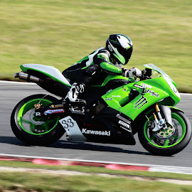 Green Machine by Peter Salmon - Transportation Motorcycles ( speed, green, track, racer, race )